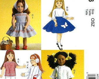 DOLL CLOTHES PATTERN / Make Vintage Style 50's Outfits / Fits American Girls - 18 Inch Dolls