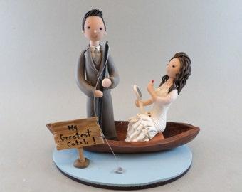 Bride & Groom On Boat Customized Wedding Cake Topper