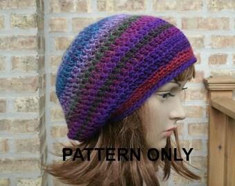 Instant Download Crochet Pattern - Crochet Hat Pattern - Slouchy Hat Pattern - Beginners Hat Pattern - Slouchy Beanie Pattern - Eden Pattern