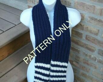 Instant Download Pattern,  Knit Scarf Pattern, Scarf Pattern, Striped Scarf Pattern, School Colors Scarf , The Spirit Scarf Pattern
