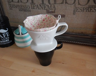 Cotton Coffee Filter Re-usable for Pour-over Coffee Maker - Pink Floral Print Fabric - Size #2 (2 cups)