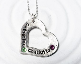 Birthstone Heart Washer - Mother's Necklace - Grandmother's Gift - Hand Stamped, Personalized Birthstone Washer Necklace - Gift for Her