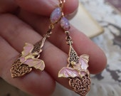 Bat Earrings ~ Pink Bat ~ Earrings ~ Pink Opal ~ Pink Earrings ~ Dangle and Drop ~ By Upweptillusions