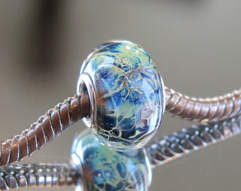 """Tangled Sky Glass """"Fission"""" #4 Fully Sterling Silver Lined Lampwork Charm Bead BHB"""