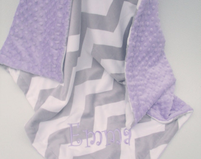 Lavender minky dot and gray chevron minky baby blanket Can Be Personalized