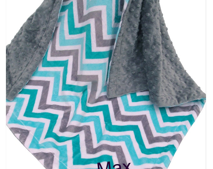 Spa Green Topaz and Gray Chevron Minky Baby Blanket Can Be Personalized