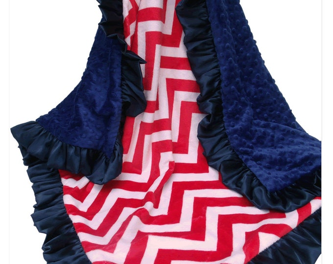 Red Chevron and Navy blue Minky Dot baby blanket for baby, toddler, or teen Can Be Personalized