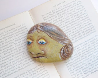 Painted Stone, Rock Art,  Whimsical Artwork, Beach Decor,  by gardenstones on etsy