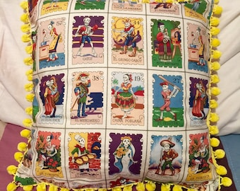 Dia de Los Muertos Loteria Inspired Decorative Pillow