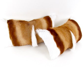 Brown and White Fur Pillow Set ~ BEST SELLER