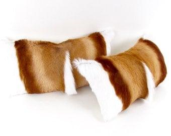 Fur Pillow Set ~ Springbok Pillow Set ~ Hair on Hide Pillow Set ~ Sustainable Fur Pillow ~ Brown Fur Pillow - Springbok Lumbar Pillow