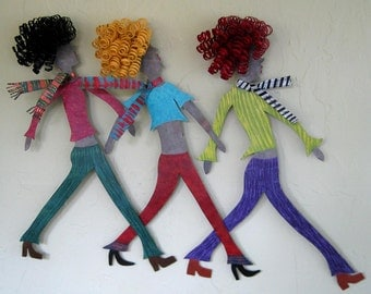 Metal Wall Art Girls Walking Wall Sculpture Whimsical Recycled Metal Wall Hanging Friends Sisters Blonde Brunette Redhead 19 x 27