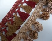 Lot Tassel Fringe Trim Remnants Gold Pom Pom Fringe Red Chainette Fringe Home Decor Trim Pillow Edging 2+ Yards