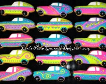 Race Car Cookies - Girl Race Car Cookies - 12 cookies