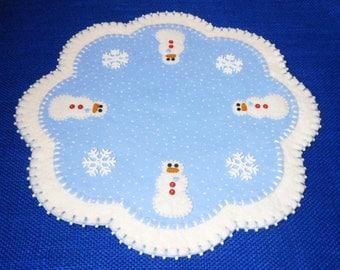 """Wool Felt Christmas Snowman Design Decorative Mat - 15.5"""""""