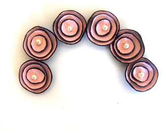 Leather supplies TINY round flowersHandmade leather flowers for crafts and jewelry making