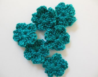 Crocheted Flowers  - Deep Turquoise - Forget Me Nots - Acrylic Yarn - Crocheted Flower Embellishments - Crocheted Flower Appliques