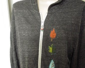 Light Weight Jacket, Hooded Full-zip Jacket, Hoodie, Alternative Apparel, Appliqued Leaf Design, Fall Jacket, Black Hooded Zip Jacket