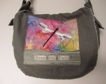 Messenger Bag, Canvas Messenger Bag, Army Green Messenger Bag, Book Bag, Diaper Bag, School Bag, Faith Bag,  Appliqued Dragonfly Bag