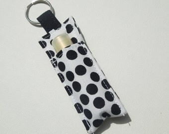 Sale - Chapstick Keychain,Lip Balm Key chain,Chapstick Holder,keychain,Lipbalm cover pouch,lipstick pouch Keychain - Black Mod Dot on White