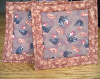 Quilted Pot Holders with Roosters - Set of 2