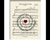 When I'm Sixty Four Sheet Music Art Print, Song Lyric Art, Tandem Bicycle,Beatles Music, First Dance,Spiral Lyric, Names and Date