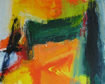 Silt Fence Original Abstract Painting 14 x 16 brilliant color, orange, forest green, yellow