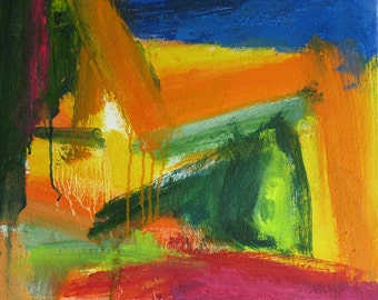 Heavy Machinery Original Abstract Painting 14 x 16 brilliant color, orange, magenta, dark blue, forest green, yellow