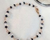 Dainty Gemstone Bracelet Wire Wrapped Rose Gold Fill Mystic Black Spinel Bracelet Faceted Crystal Quartz Layering Bracelet Delicate Jewelry