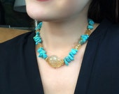 Chunky Turquoise Necklace - Citrine Gold Handmade Choker Necklace Statement Luxury Fashion November Birthstone