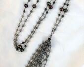 Beaded Tassel Necklace Long Gemstone Boho Statement Necklace Mystic Labradorite Wire Wrap Tassel Pearl Tassel Jewelry Bohemian Tassel Mala