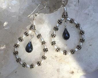 Pearl Hoop Earrings Black Spinel Sterling Silver Handmade Hoop Earrings Simple Everyday Black White Hoop Earrings