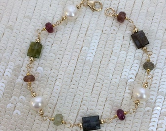 Tourmaline Bracelet Wire Wrapped 14kt Gold Fill Pearl Gemstone Bracelet  Watermelon Tourmaline October Birthstone