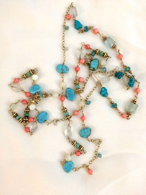 Aquamarine Coral Turquoise Long Necklace Handmade Wire Wrapped 14kt Gold Filled Colorful Gemstone Layering Dangle Necklace