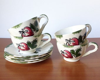 Vintage Strawberry Blue Ridge Cups and Saucers, Retro Kitchen Decor, Ceramic Set of Four