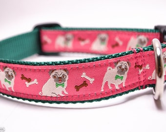 Pug Dog Collar / Pink Pugs / Fawn Pug Dog Collar / Pug with Bow tie Collar