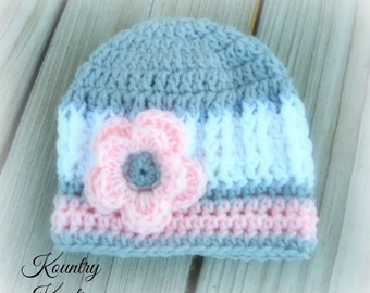 Crochet Hat, Newborn Beanie, Girl Crochet Hat, Infant Baby Girl Hat, Crochet hat, Handmade, TriColor hat, Beanie(Ready to Ship)