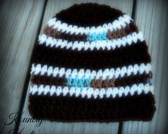 Crochet Baby Boy Hat, Newborn Baby Boy Beanie, Baby Boy Crochet Hat, Infant Baby Boy Hat, Baby Boy Hat, Gift (Ready to Ship)