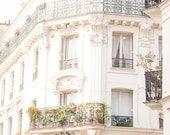 Paris Photography, Rue de Martyrs, Paris Montmartre Balcony. Apartment, Haussmann architecture, neutral hues, paris print - paris wall art