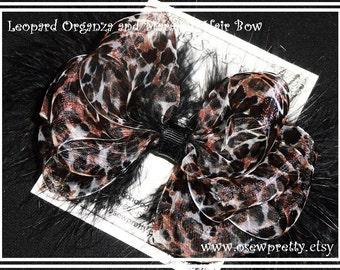 Leopard Organza HAIR bow, Organza hair bows,Marabou hair bows,Girls Hair bow, Fancy Hair bow,