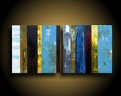 Abstract Painting. Wall Art. Modern Art. Original. Contemporary Painting. Huge. 24 x 48.yellow green blue white brown