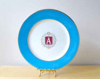 shenango china restaurant ware dinner plate factory prototype artist rendering initial A monogram blue and gold rim