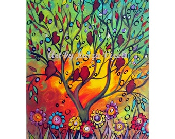 Birds Tree Painting Original Canvas Whimsical Landscape Flowers Painting on Canvas by Luiza Vizoli