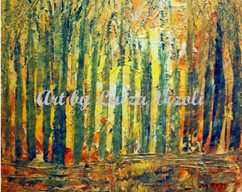 FALL Birch Trees Original Impasto Oil Painting Trees Landscape Textured Art by Luiza Vizoli