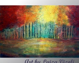 Original Oil Painting MIST FOREST Modern Impressionist Large Trees Landscape Fine Art by Luiza Vizoli 36x24