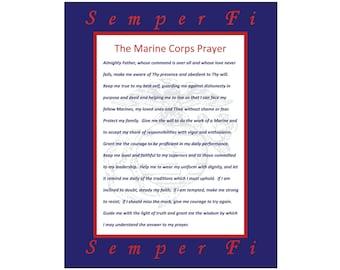Marine Corps Prayer Inspirational Art Wall Art Paper Cut Mat with Semper Fi Unframed 8X10