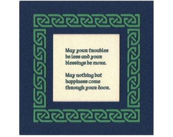 Irish Celtic Blessing - Irish Happiness...Celtic Knot paper cut border Wall Art Wall Decor St. Patrick's Day 5X5 unframed