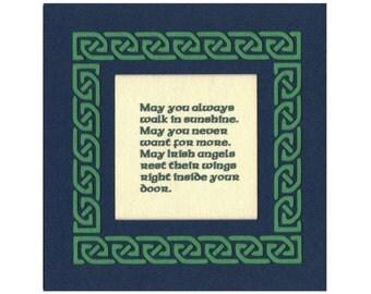 Irish Celtic Blessing - Irish Angels, Sunshine...Celtic Knot Border Paper Cut Wall Art Wall Decor 5X5 unframed