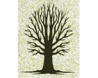Bare Tree Silhouette Paper Cut Art Wall Art Design 8x10 shades of green