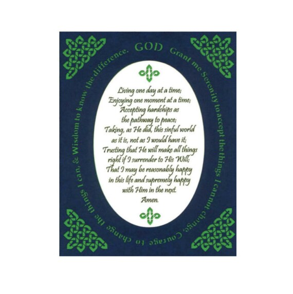Serenity Prayer Long Version Inspirational Art Celtic Knot border Wall Art Paper Cut Border Design 8X10 Unframed